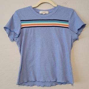 No Comment Baby Blue Ribbed Scallop Hem T-Shirt
